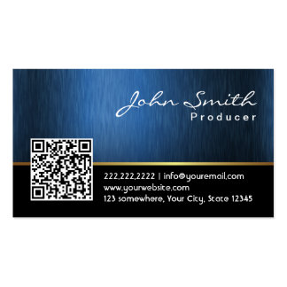 Royal Blue QR code Producer Business Card