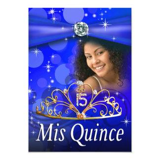 Royal Blue Quinceanera 15 Princess Tiara  Photo Personalized Announcement