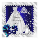 Royal Blue Quinceanera 15th Masquerade Party Personalized Announcement