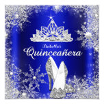 Royal Blue Quinceanera Silver Tiara 15th Birthday 13 Cm X 13 Cm Square Invitation Card