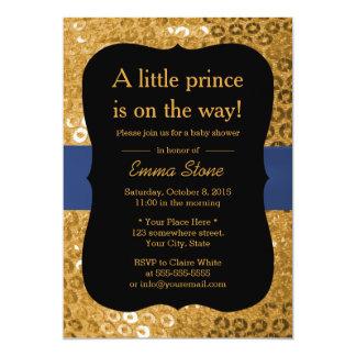 Royal Blue Ribbon Black & Gold Baby Shower Card