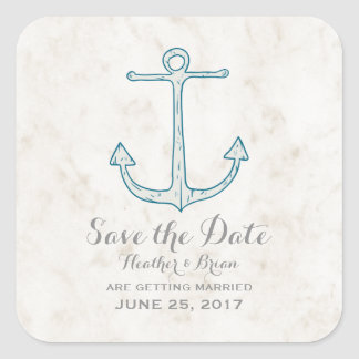 Royal Blue Rustic Anchor Save the Date Square Sticker