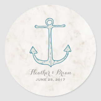 Royal Blue Rustic Anchor Wedding Round Sticker