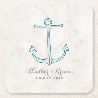 Royal Blue Rustic Anchor Wedding Square Paper Coaster