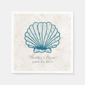 Royal Blue Rustic Seashell Wedding Disposable Napkin