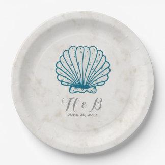 Royal Blue Rustic Seashell Wedding Paper Plate