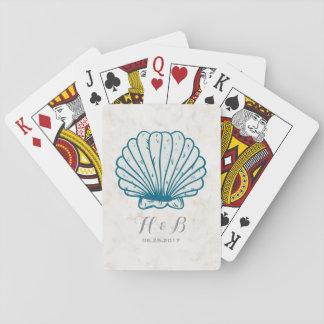 Royal Blue Rustic Seashell Wedding Playing Cards