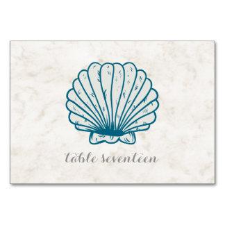 Royal Blue Rustic Seashell Wedding Table Card