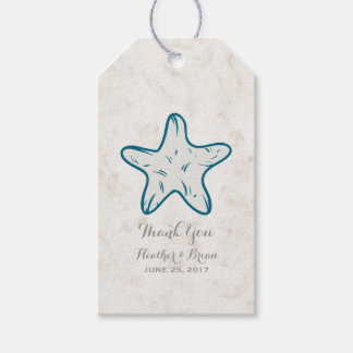 Royal Blue Rustic Starfish Wedding Gift Tags