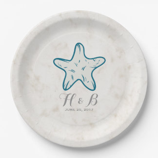 Royal Blue Rustic Starfish Wedding Paper Plate