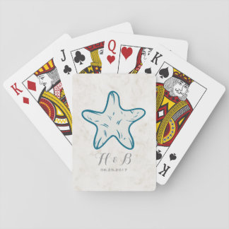 Royal Blue Rustic Starfish Wedding Playing Cards