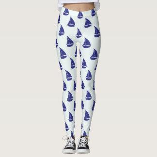 Royal Blue Sailboat Pattern Leggings