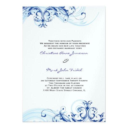 Royal Blue Scroll Fleurish Wedding Invitation 13 Cm X 18 Cm Invitation ...: www.zazzle.com.au/royal_blue_scroll_fleurish_wedding_invitation...