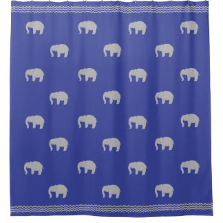 Royal Blue Shower Curtain with Graphic Elephants