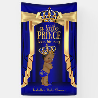 Royal Blue Silk Gold Crown Baby Shower Ethnic Banner