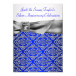 Royal Blue Silver Damask Silver 25th Anniversary 11 Cm X 16 Cm Invitation Card