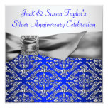 Royal Blue Silver Damask Silver 25th Anniversary Personalised Announcements
