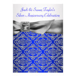 Royal Blue Silver Damask Silver 25th Anniversary Personalized Announcements