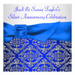 Royal Blue Silver Damask Silver 25th Anniversary Invite