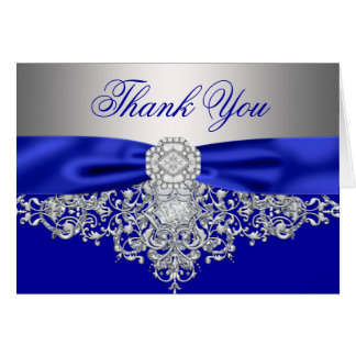 Royal Blue Silver Diamond Thank You Card
