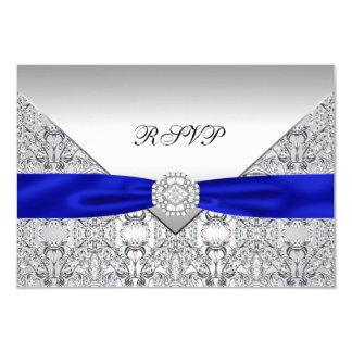 Royal Blue Silver Diamond Wedding RSVP Card