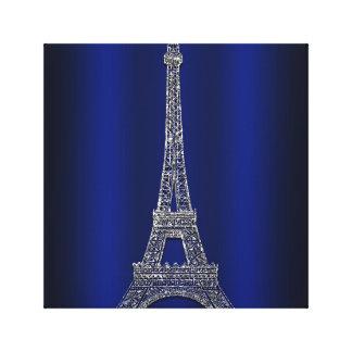 Royal Blue & Silver Eiffel Tower Paris Modern Glam Canvas Print