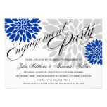 Royal Blue Silver Floral Burst Engagement Party Personalized Invite