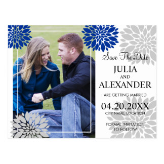 Royal Blue Silver Floral Burst Photo Save The Date Postcard