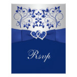 Royal Blue, Silver Floral, Hearts Wedding RSVP Personalized Invitation