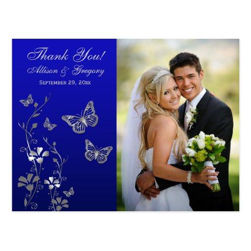 Royal Blue, Silver Floral Thank You Photo Postcard