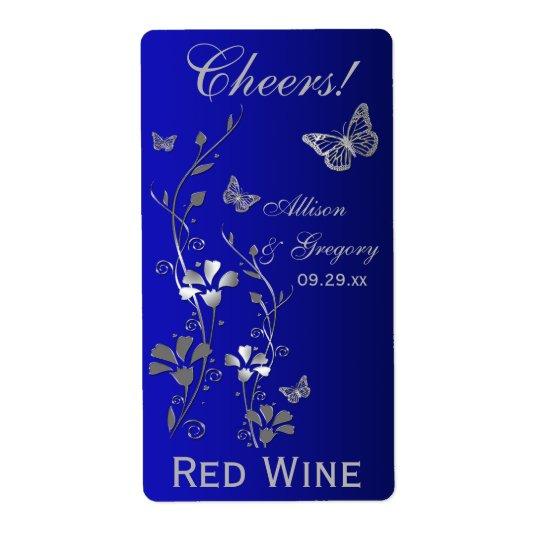 Royal Blue, Silver Floral Wedding Bottle Label Shipping Label