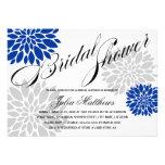 Royal Blue Silver-Grey Floral Burst Bridal Shower Custom Announcement