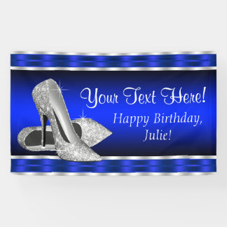 Royal Blue Silver High Heels Shoes Birthday Party Banner