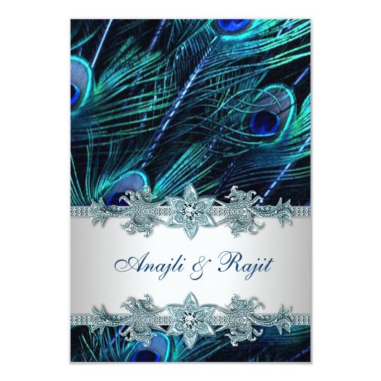 Royal Blue Silver Indian Peacock Reception Cards