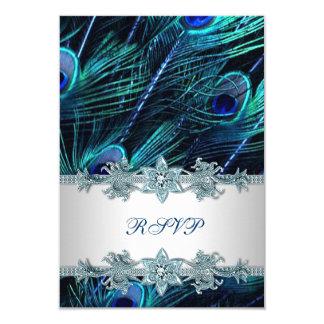 Royal Blue Silver Indian Peacock Wedding RSVP 9 Cm X 13 Cm Invitation Card