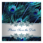 Royal Blue Silver Peacock Wedding Save the Date Personalised Invitation