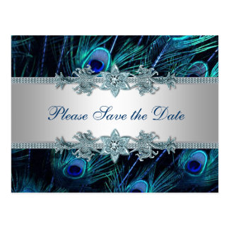 Royal Blue Silver Peacock Wedding Save the Date Postcard