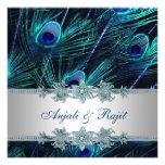 Royal Blue Silver Royal Blue Peacock Wedding Personalised Invitation