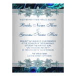 Royal Blue Silver Royal Indian Peacock Wedding Custom Announcement
