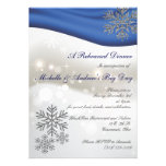 Royal Blue Silver Snowflakes Winter Rehearsal Personalized Announcements