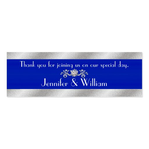 Royal Blue & Silver Tone Custom Wedding Favor Tags Business Cards