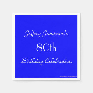 Royal Blue Solid 80th Birthday Party Paper Disposable Serviette
