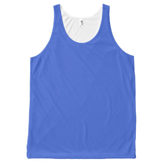 Royal Blue Solid Color All-Over Print Tank Top
