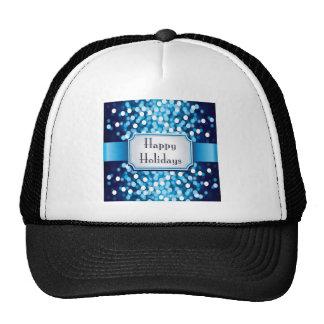Royal Blue Sparkle Happy Holidays Mesh Hats
