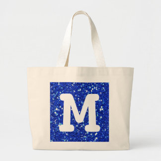 Royal Blue Sparkly Faux Glitter Look Monogram Large Tote Bag