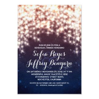 royal blue string lights rehearsal dinner invites