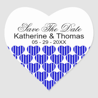 Royal Blue Striped Hearts Save The Date Stickers