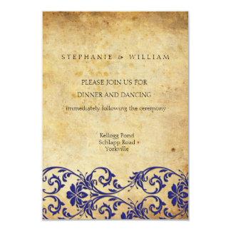 Royal Blue Swirl Wedding Reception Card 9 Cm X 13 Cm Invitation Card