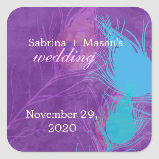 Royal Blue, Teal, Purple Peacock Wedding Stickers