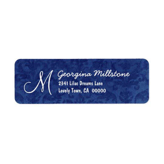 ROYAL BLUE Textured Monogram M Address Label
